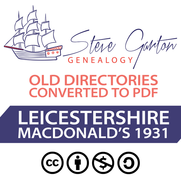 Macdonald's 1931 Directory of Leicestershire on CD