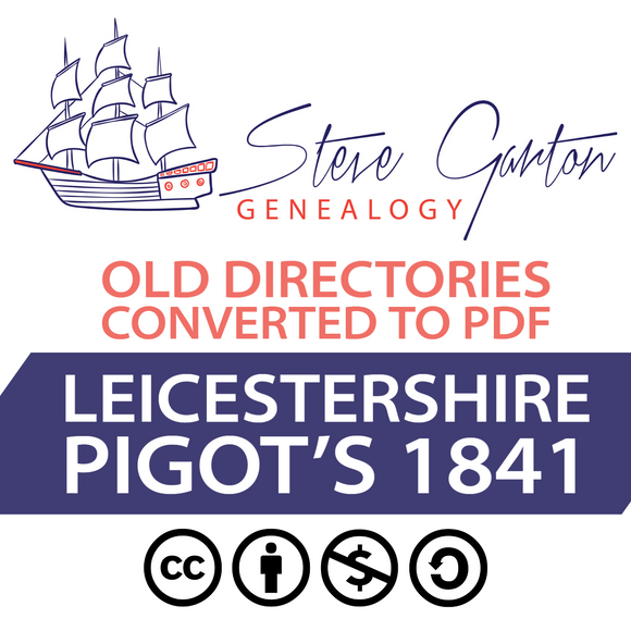 Pigot's 1841 Directory of Leicestershire on CD