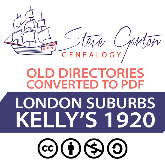 Kelly's 1920 Directory of London Suburbs on CD