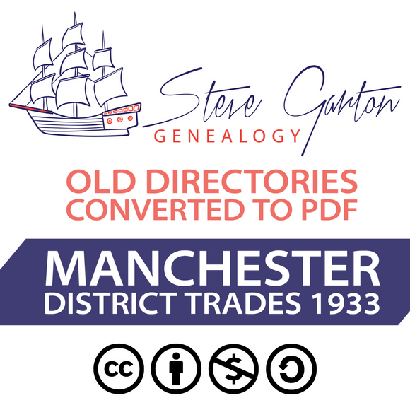 1933 Trades Directory of Manchester District on CD