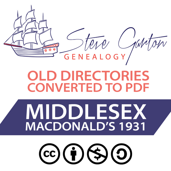 Macdonald's 1931 Directory of Middlesex on CD