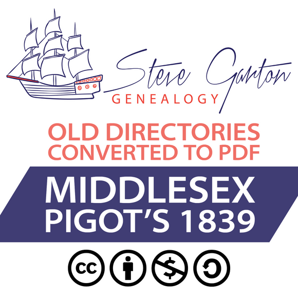 Pigot's 1839 Directory of Middlesex on CD