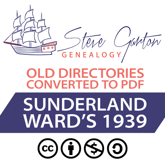 Ward's 1939 Directory of Sunderland on CD