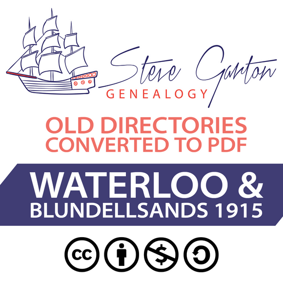 1915 Directory of Waterloo & Blundellsands on CD