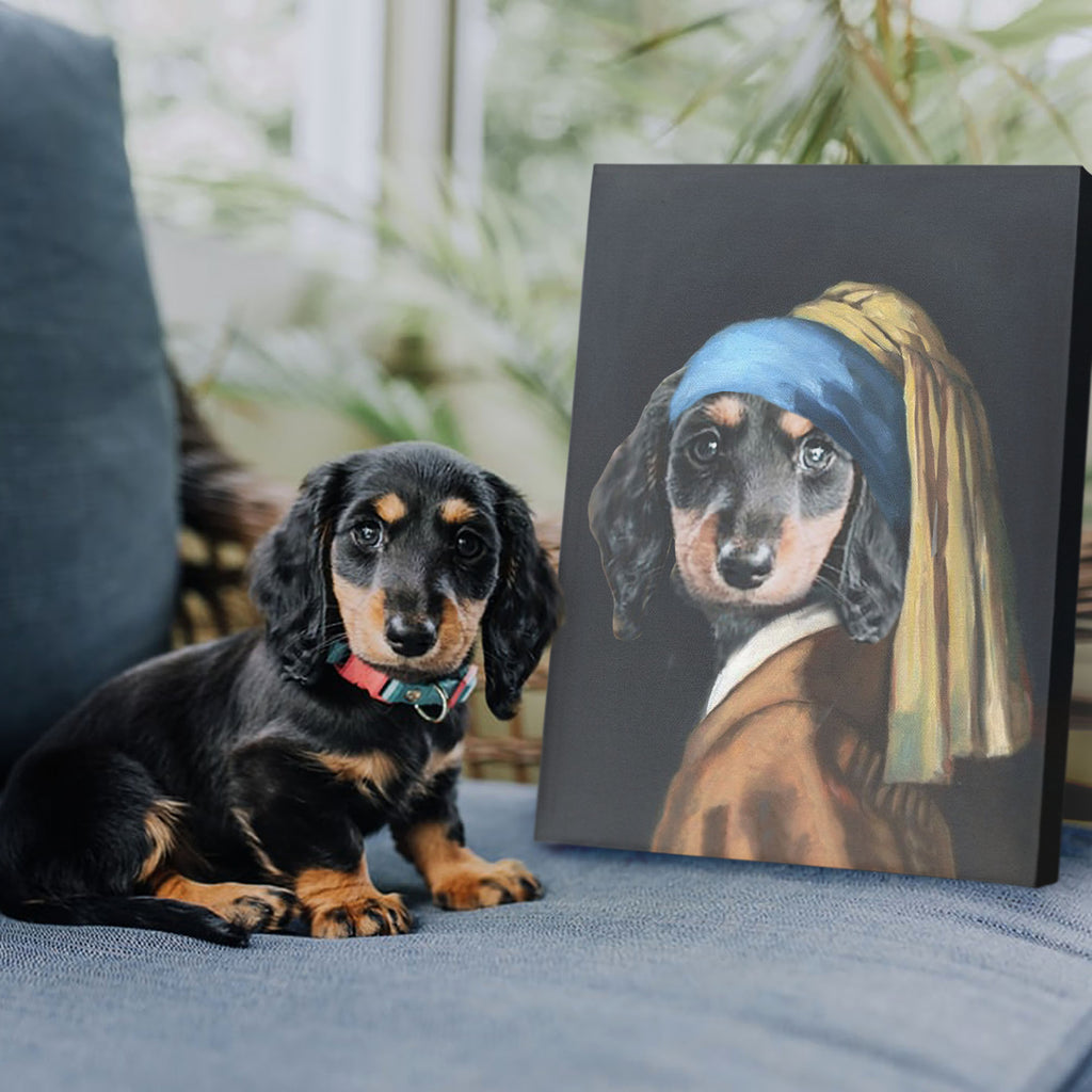 Paw with A Pearl Earring - Personalized Pet Portrait Poster Wall Art Custom Canvas Gift for Dog Cat Lovers