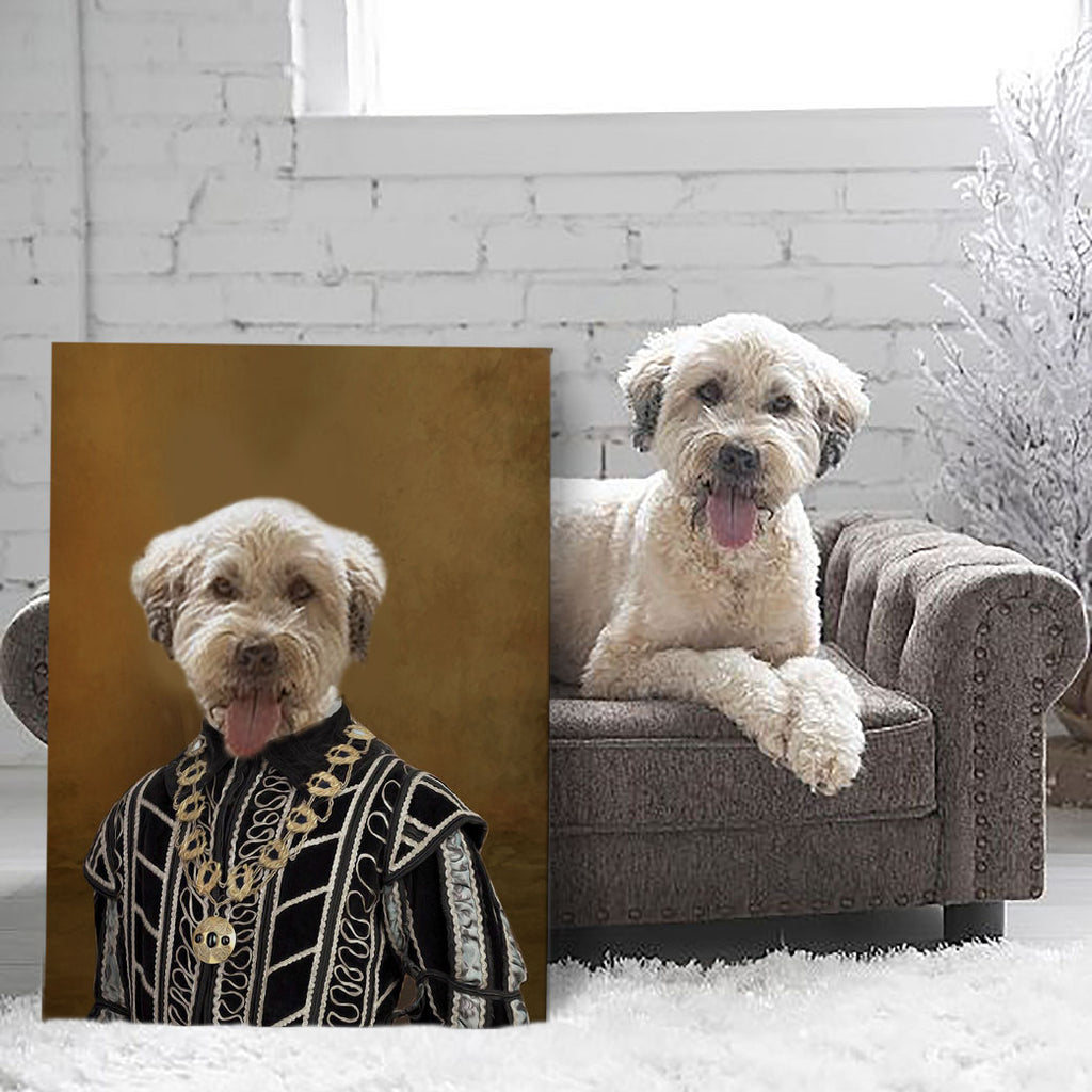 Historic Nobleman with fancy necklace - Personalized Pet Portrait Poster Wall Art Custom Canvas Gift for Dog Cat Lovers
