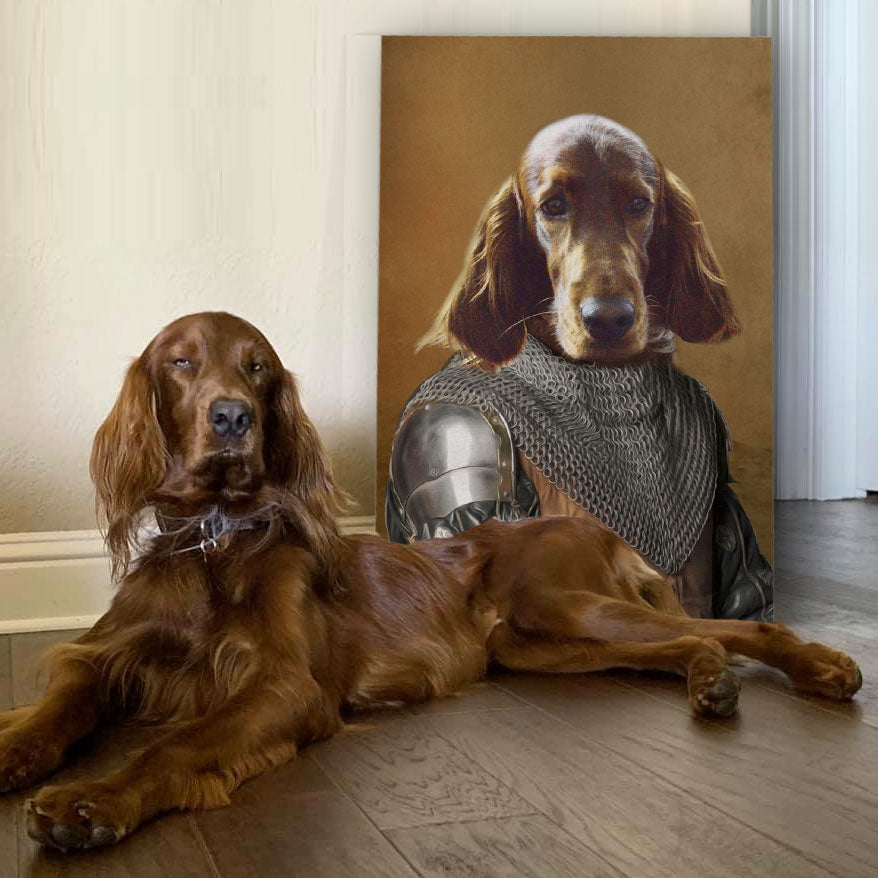 Warrior in chainmail coif - Personalized Pet Portrait Poster Wall Art Custom Canvas Gift for Dog Cat Lovers