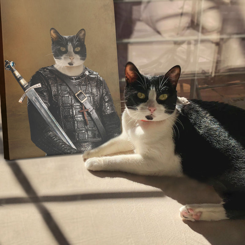 Custom Pet Portrait - Medieval Warrior - Personalized Canvas - KutePaw
