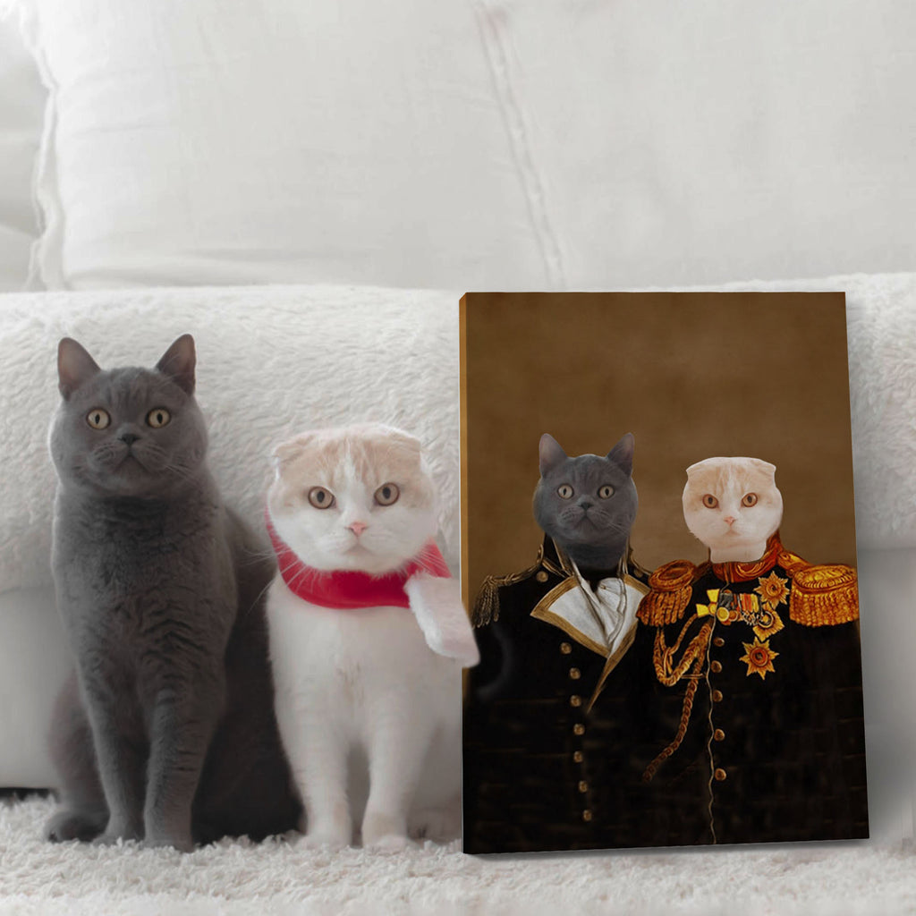 Renaissance General Brothers - Personalized Pet Portrait Poster Wall Art Custom Canvas Gift for Dog Cat Lovers