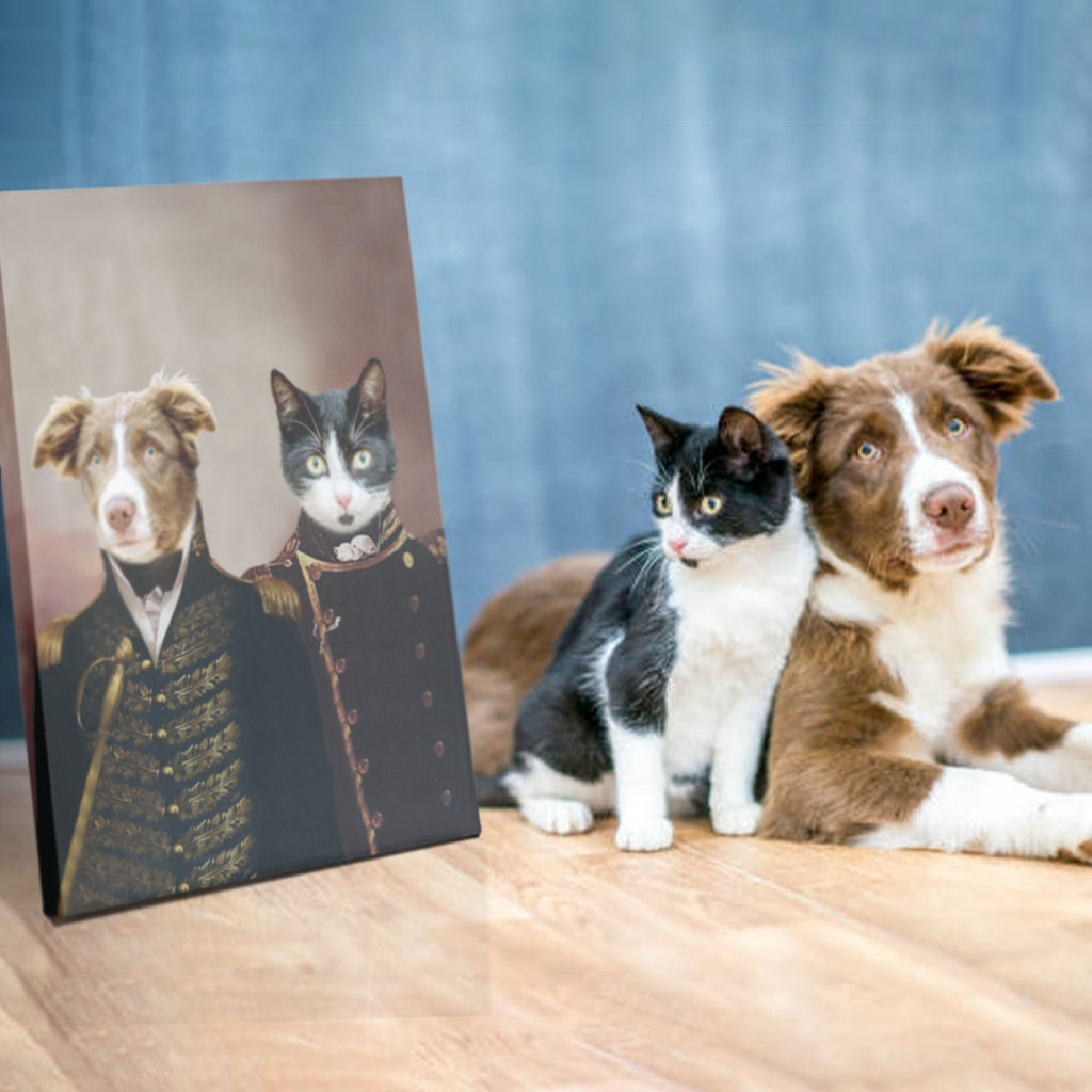 Army Brothers - Personalized Pet Portrait Poster Wall Art Custom Canvas Gift for Dog Cat Lovers
