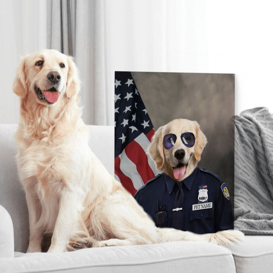 Custom Pet Portrait - Police Officer - Personalized Canvas - KutePaw