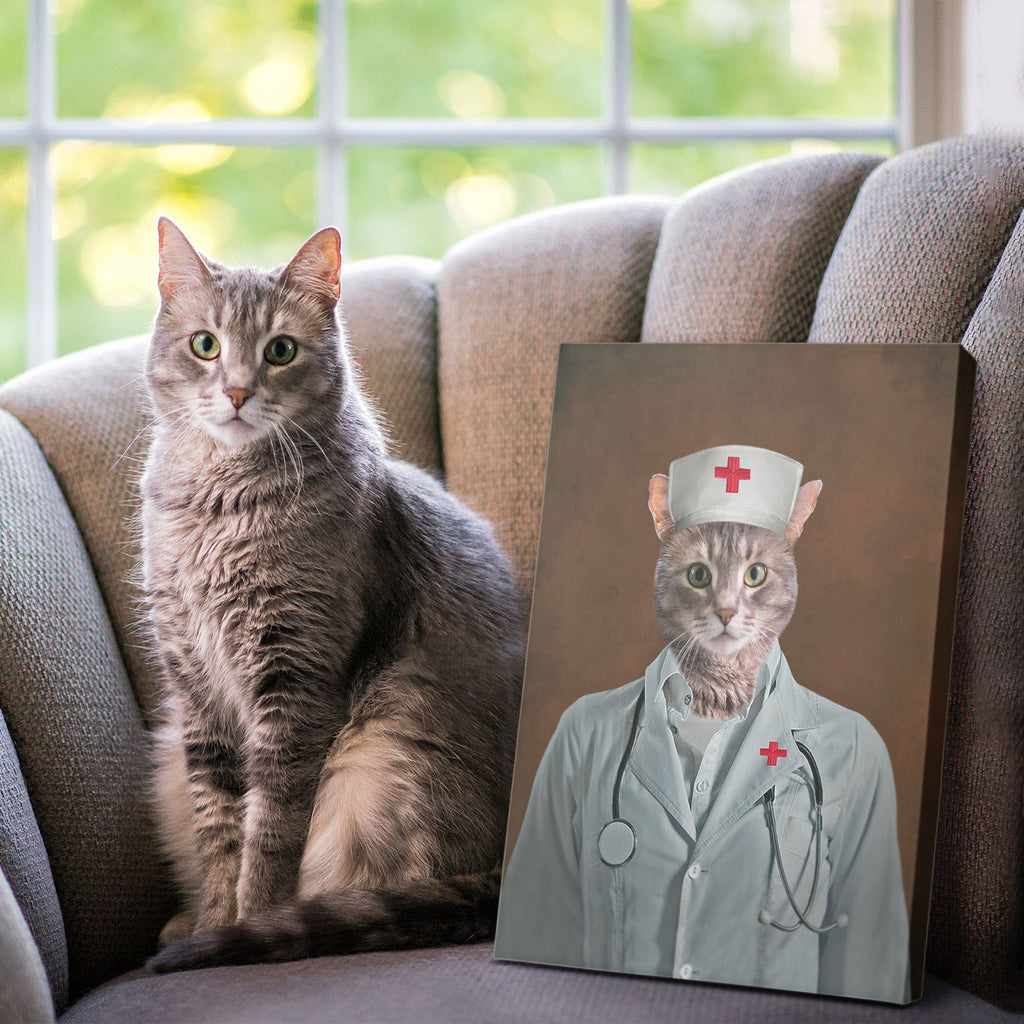 Nurse - Personalized Pet Portrait Poster Wall Art Custom Canvas Gift for Dog Cat Lovers
