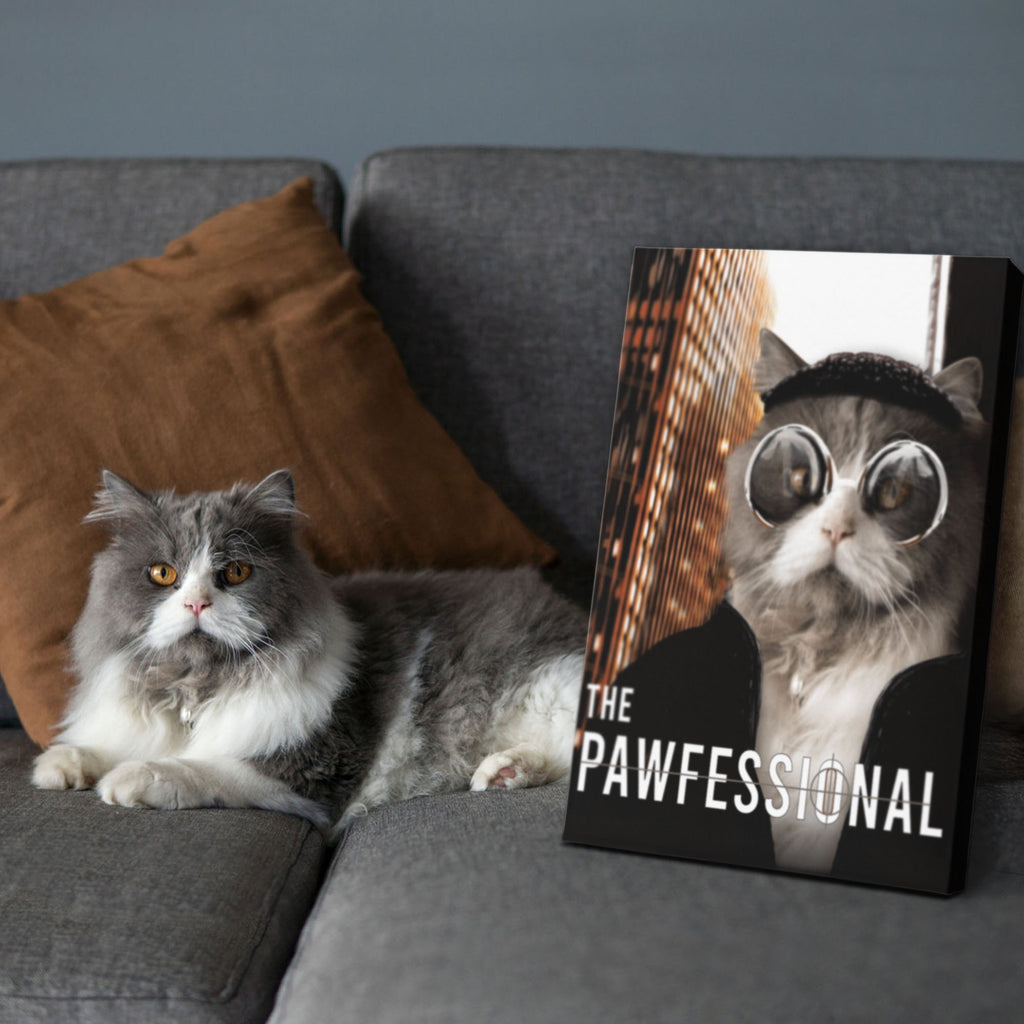 The Pawfessional - Personalized Pet Portrait Poster Wall Art Custom Canvas Gift for Dog Cat Lovers