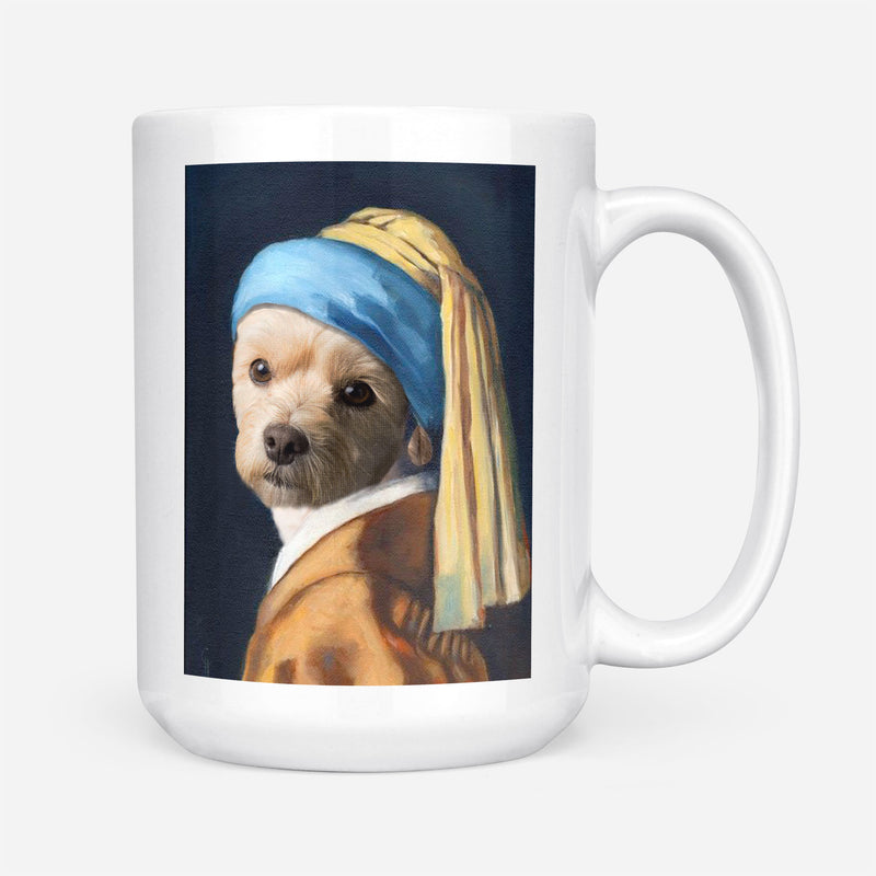 Custom Pet Portrait - Paw with A Pearl Earring - Personalized Mug - KutePaw