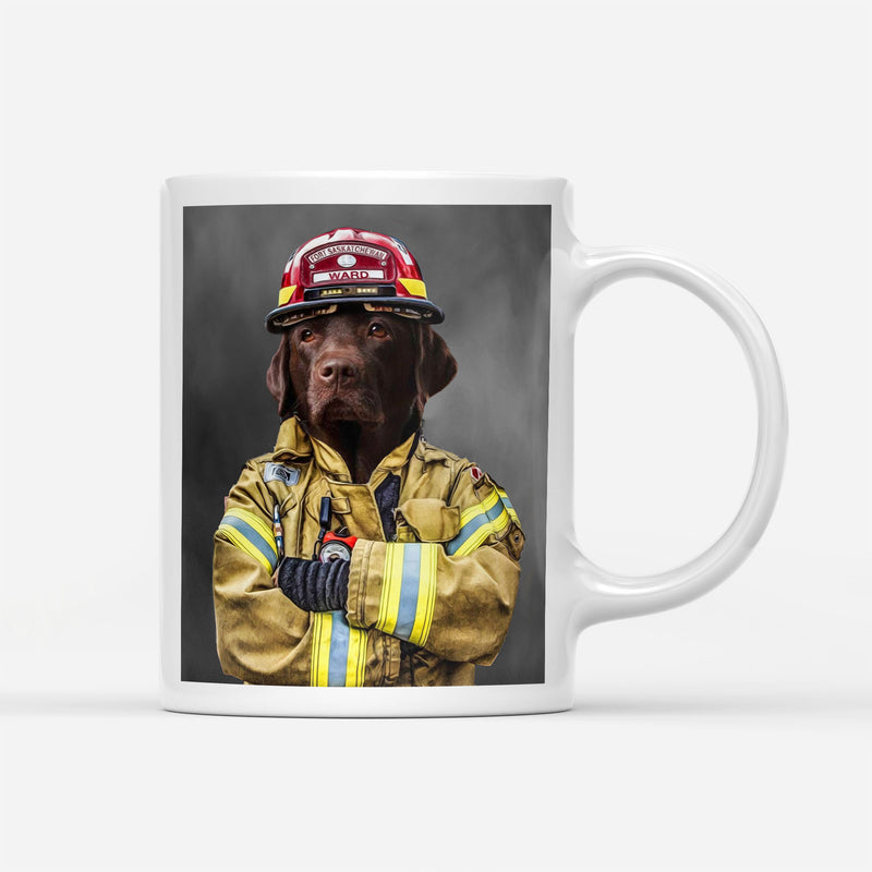 Custom Pet Portrait - Firefighter - Personalized Mug - KutePaw