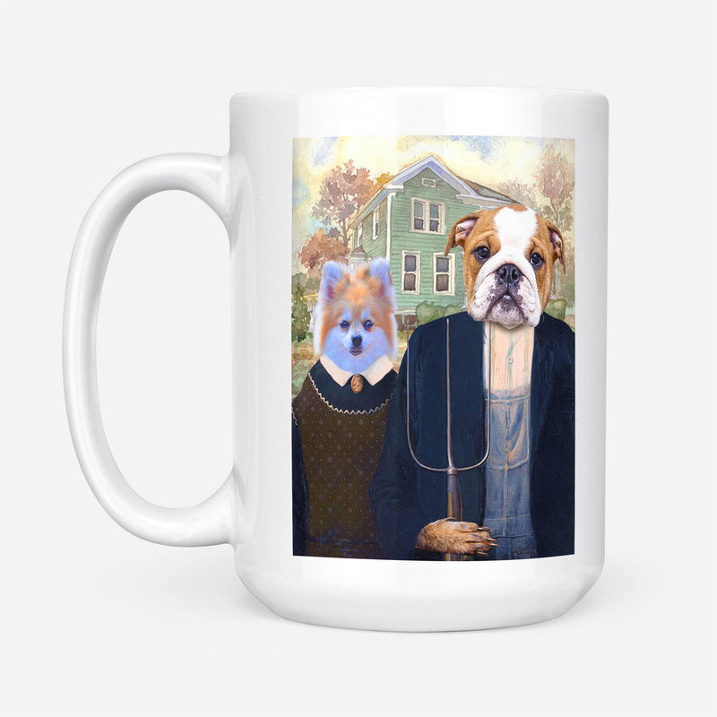 Custom Pet Portrait - THE AMERICAN GOTHIC - Personalized Mug - KutePaw