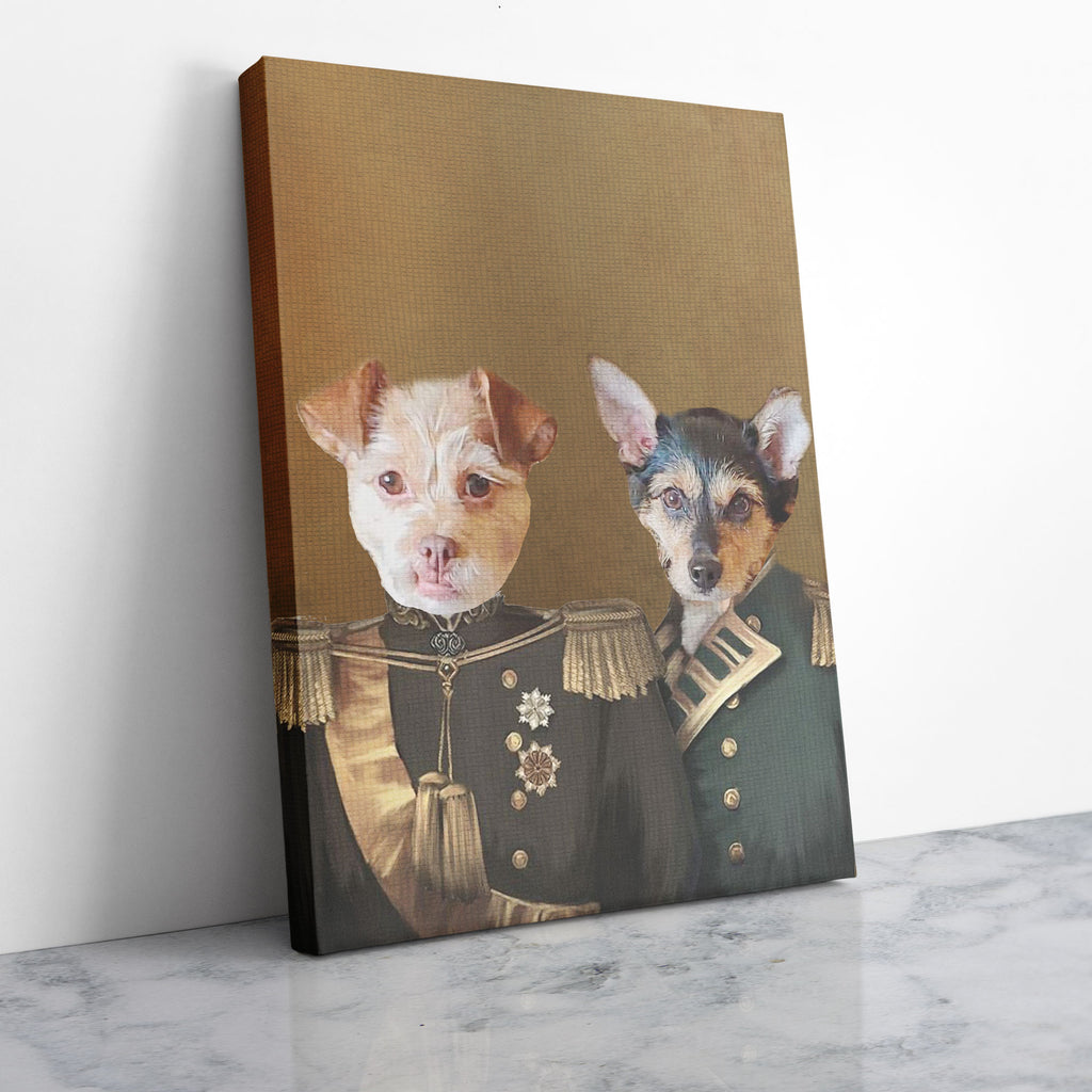 Military Brotherhood - Personalized Pet Portrait Poster Wall Art Custom Canvas Gift for Dog Cat Lovers