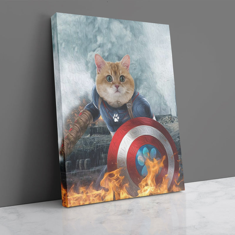 Captain Meowica - Custom Pet Portrait Canvas - KutePaw