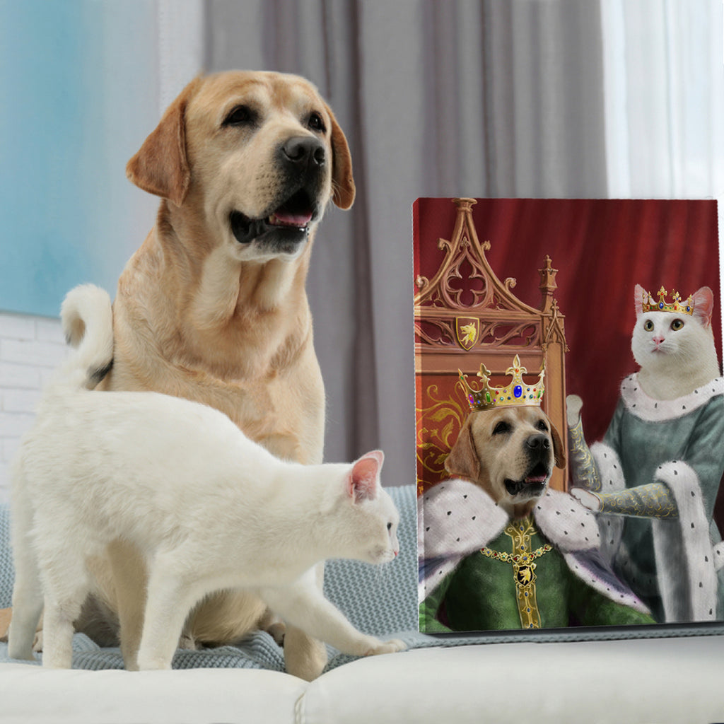 KING AND QUEEN ROYAL - Personalized Pet Portrait Poster Wall Art Custom Canvas Gift for Dog Cat Lovers