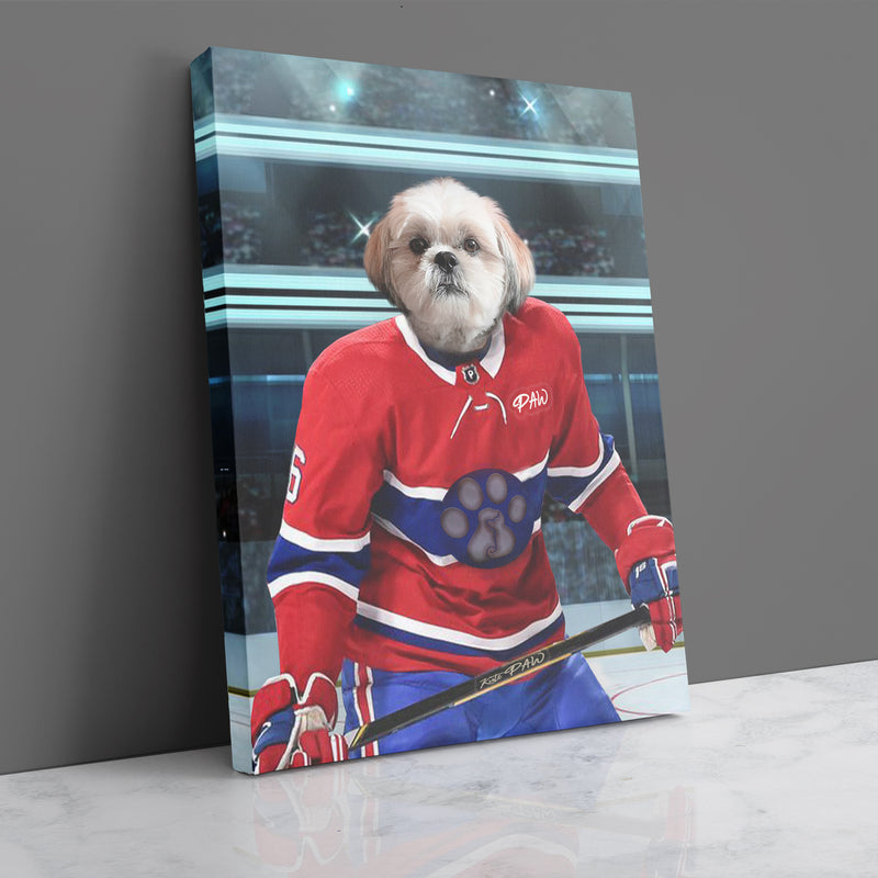 Hockey Player on Ice Rink - Personalized Canvas