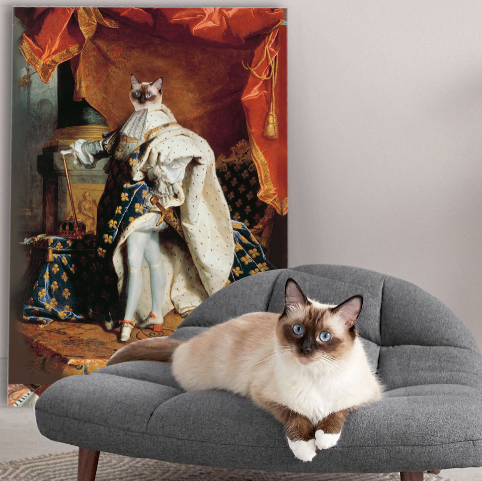 Louis XIV of France - Personalized Pet Portrait Poster Wall Art Custom Canvas Gift for Dog Cat Lovers
