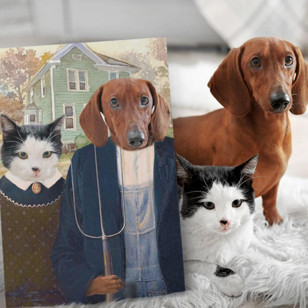 THE AMERICAN GOTHIC - Personalized Pet Portrait Poster Wall Art Custom Canvas Gift for Dog Cat Lovers