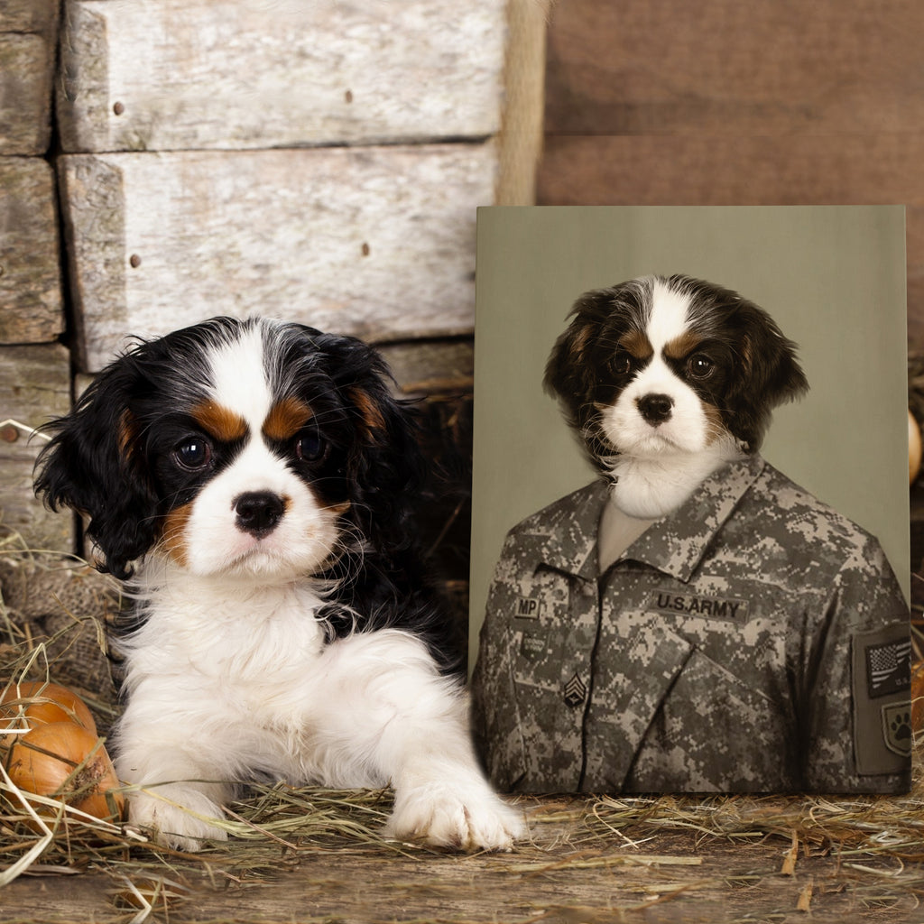 The Army Man - Personalized Pet Portrait Poster Wall Art Custom Canvas Gift for Dog Cat Lovers