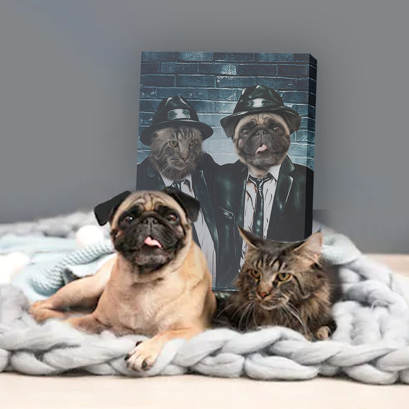 The Blue Duo - Custom Pet Portrait Canvas - KutePaw