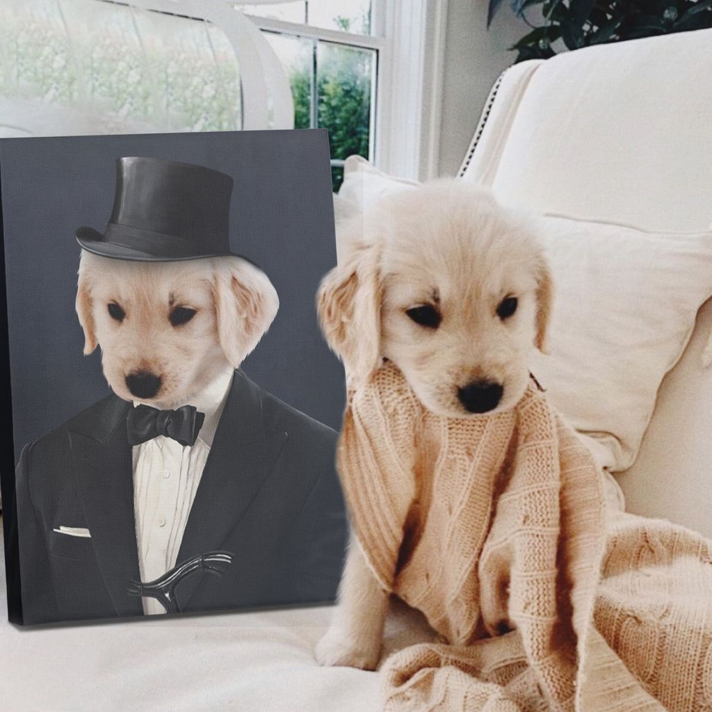 The Gentleman - Personalized Pet Portrait Poster Wall Art Custom Canvas Gift for Dog Cat Lovers