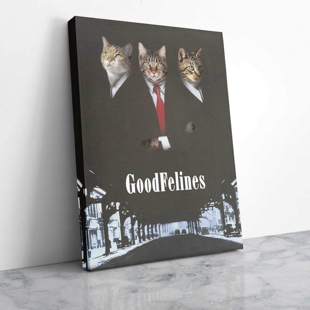 The GoodFelines - Personalized Pet Portrait Poster Wall Art Custom Canvas Gift for Dog Cat Lovers