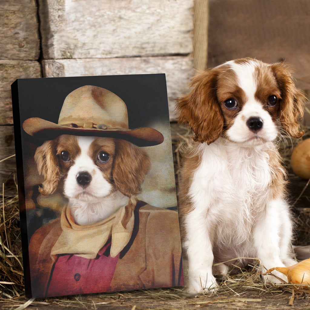 The cowboy - Personalized Pet Portrait Poster Wall Art Custom Canvas Gift for Dog Cat Lovers