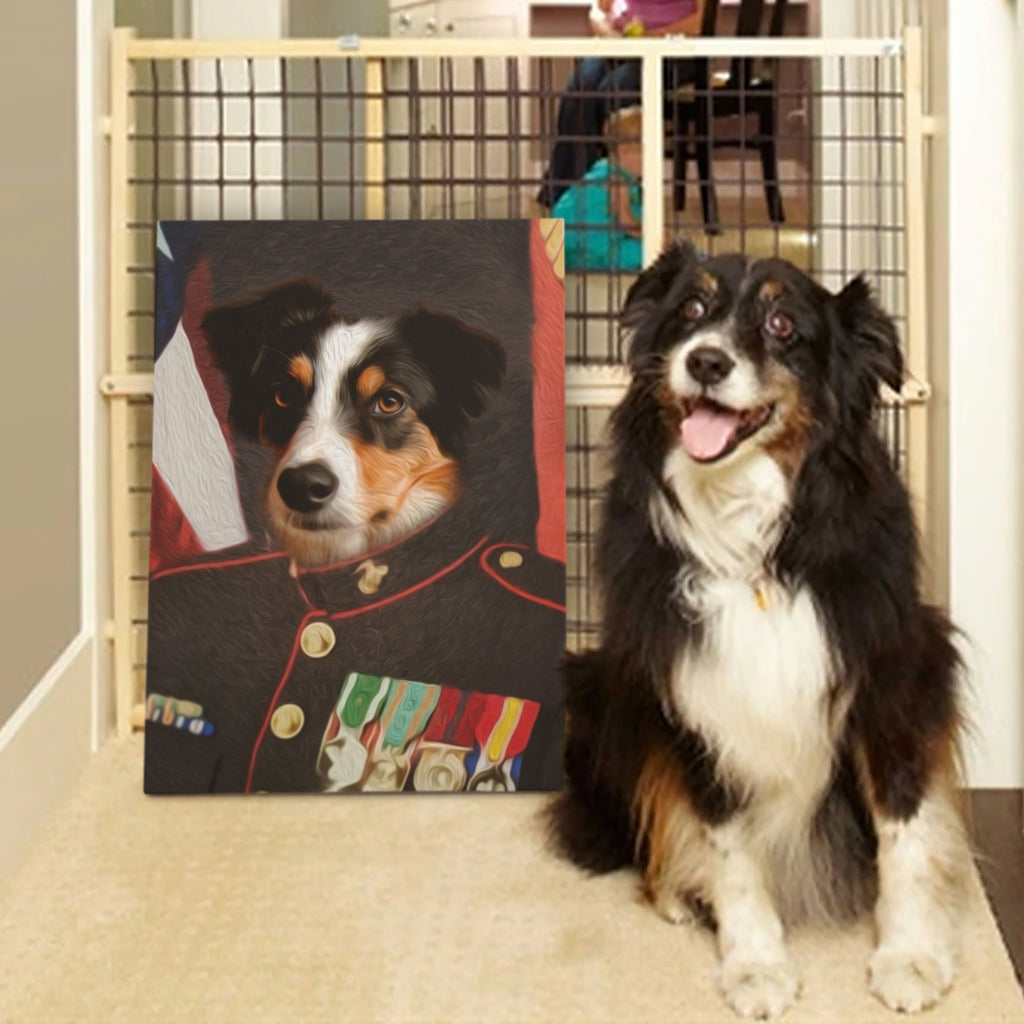 Custom Pet Portrait - The Marine - Personalized Canvas - KutePaw