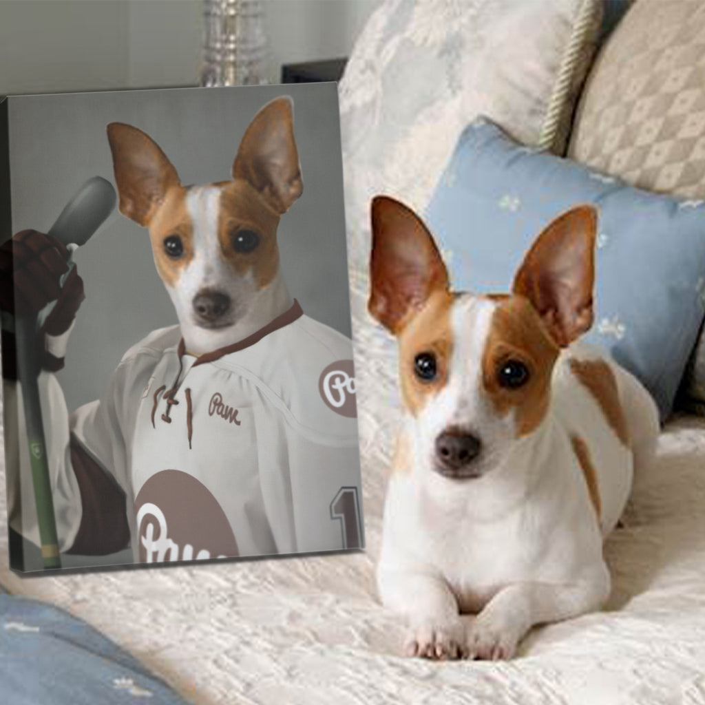 Icehockey Player - Personalized Pet Portrait Poster Wall Art Custom Canvas Gift for Dog Cat Lovers