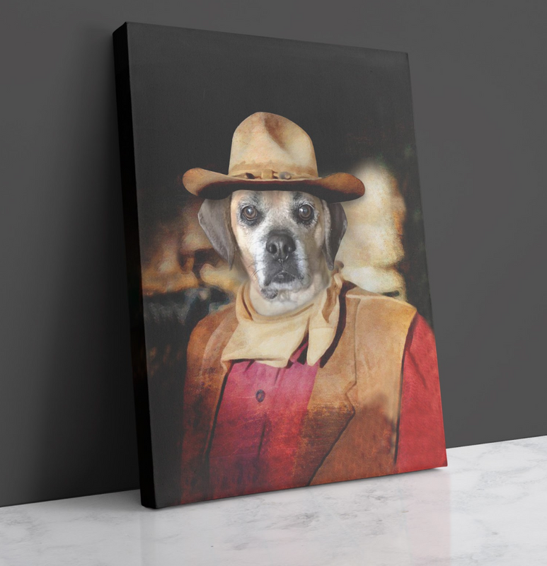 Custom Pet Portrait - The cowboy - Personalized Canvas - KutePaw
