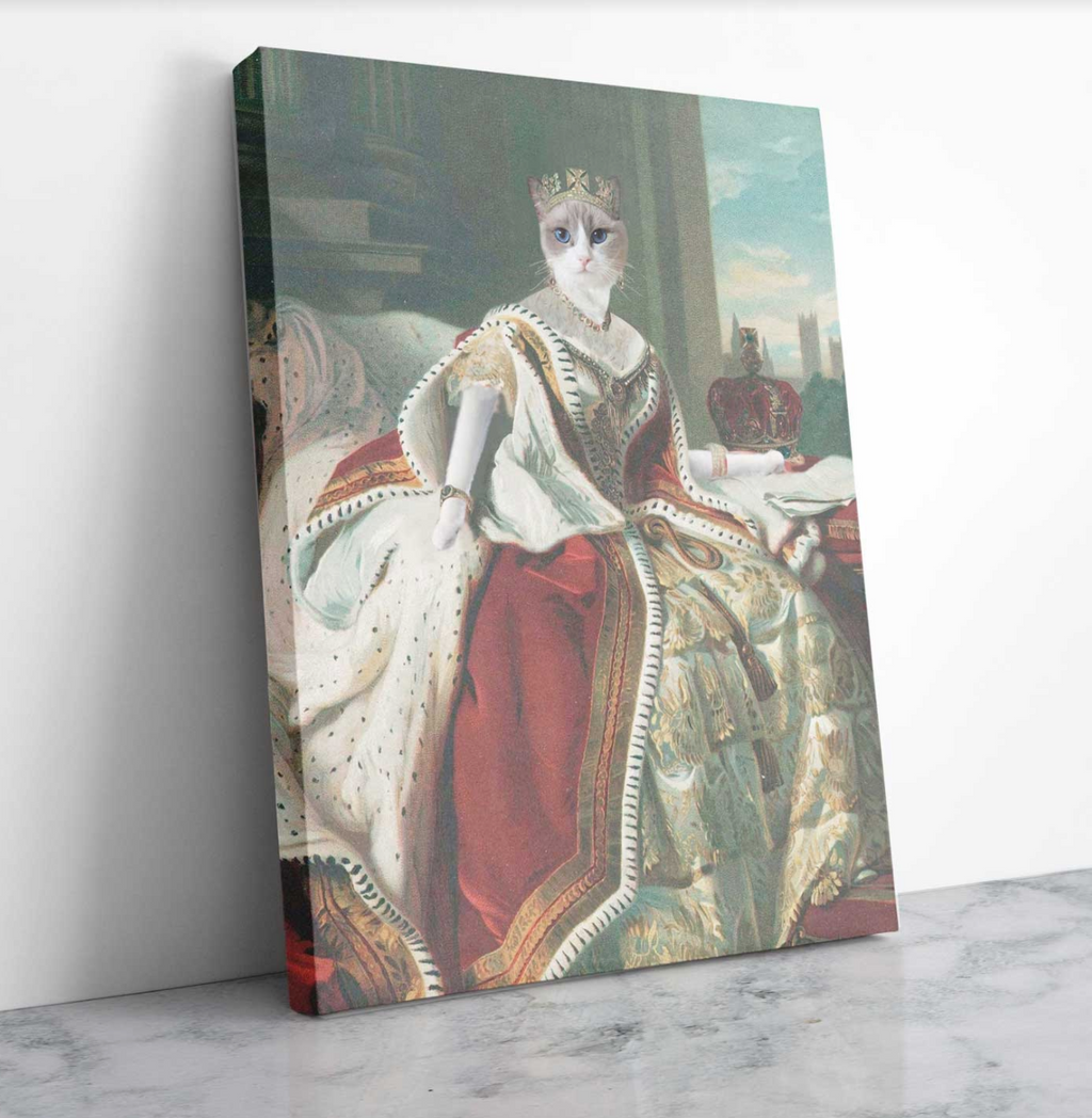 Custom Pet Portrait - Queen Victoria - Personalized Canvas - KutePaw