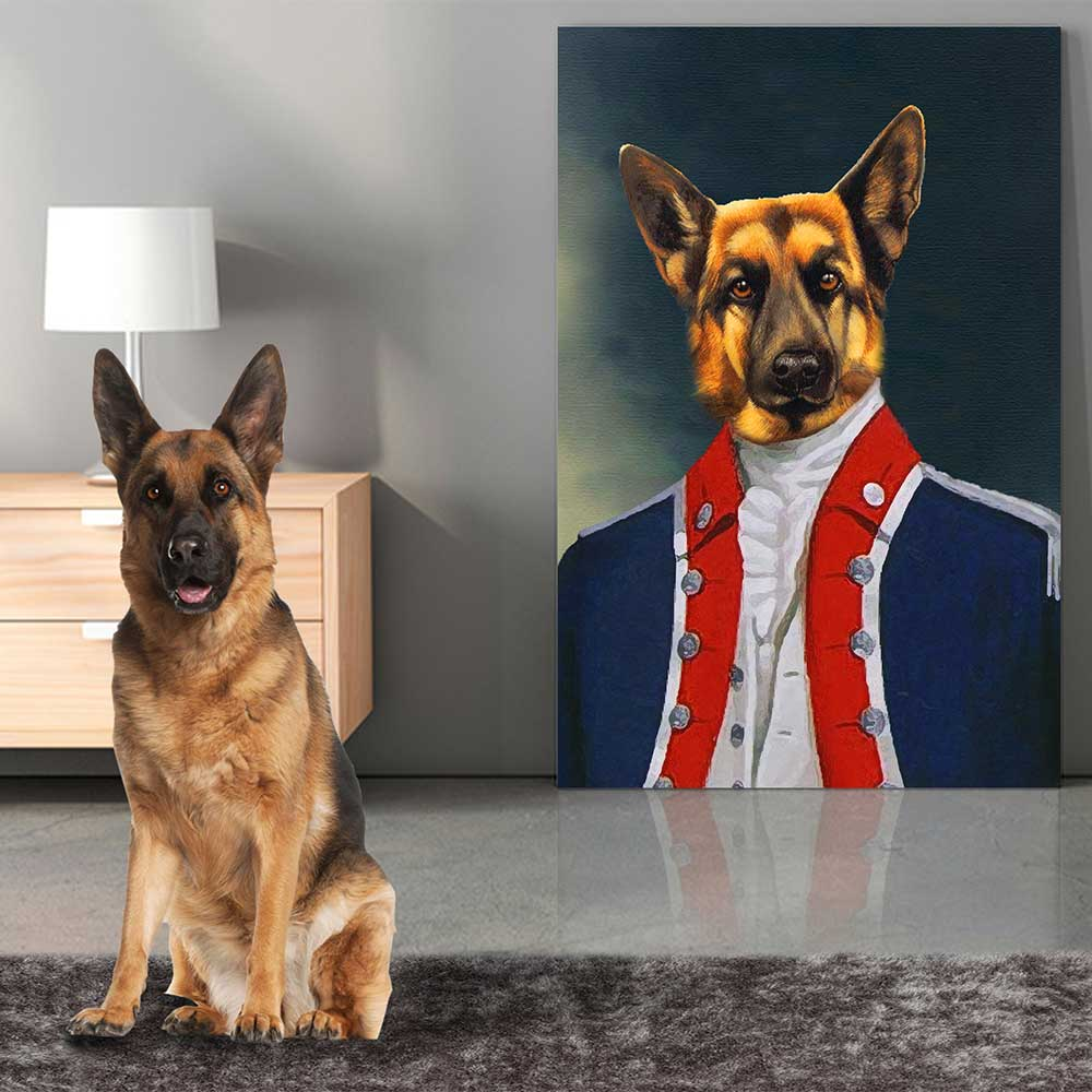 AIDE-DE-CAMP TO THE GENERAL - Personalized Pet Portrait Poster Wall Art Custom Canvas Gift for Dog Cat Lovers