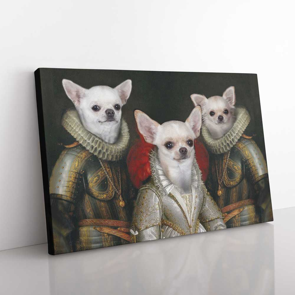 Queen And Guardians - Personalized Pet Portrait Poster Wall Art Custom Canvas Gift for Dog Cat Lovers