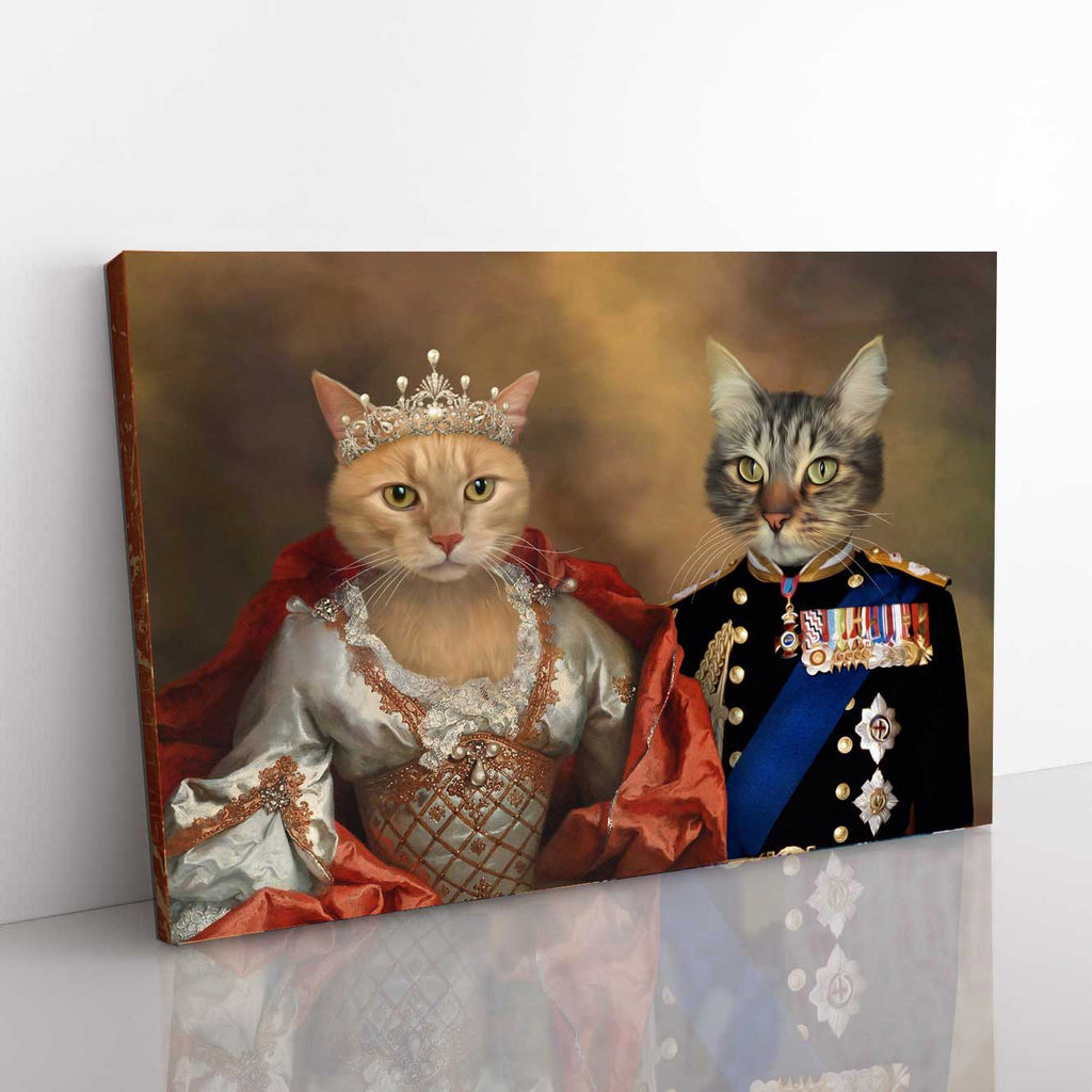 Royal Couple - Personalized Pet Portrait Poster Wall Art Custom Canvas Gift for Dog Cat Lovers