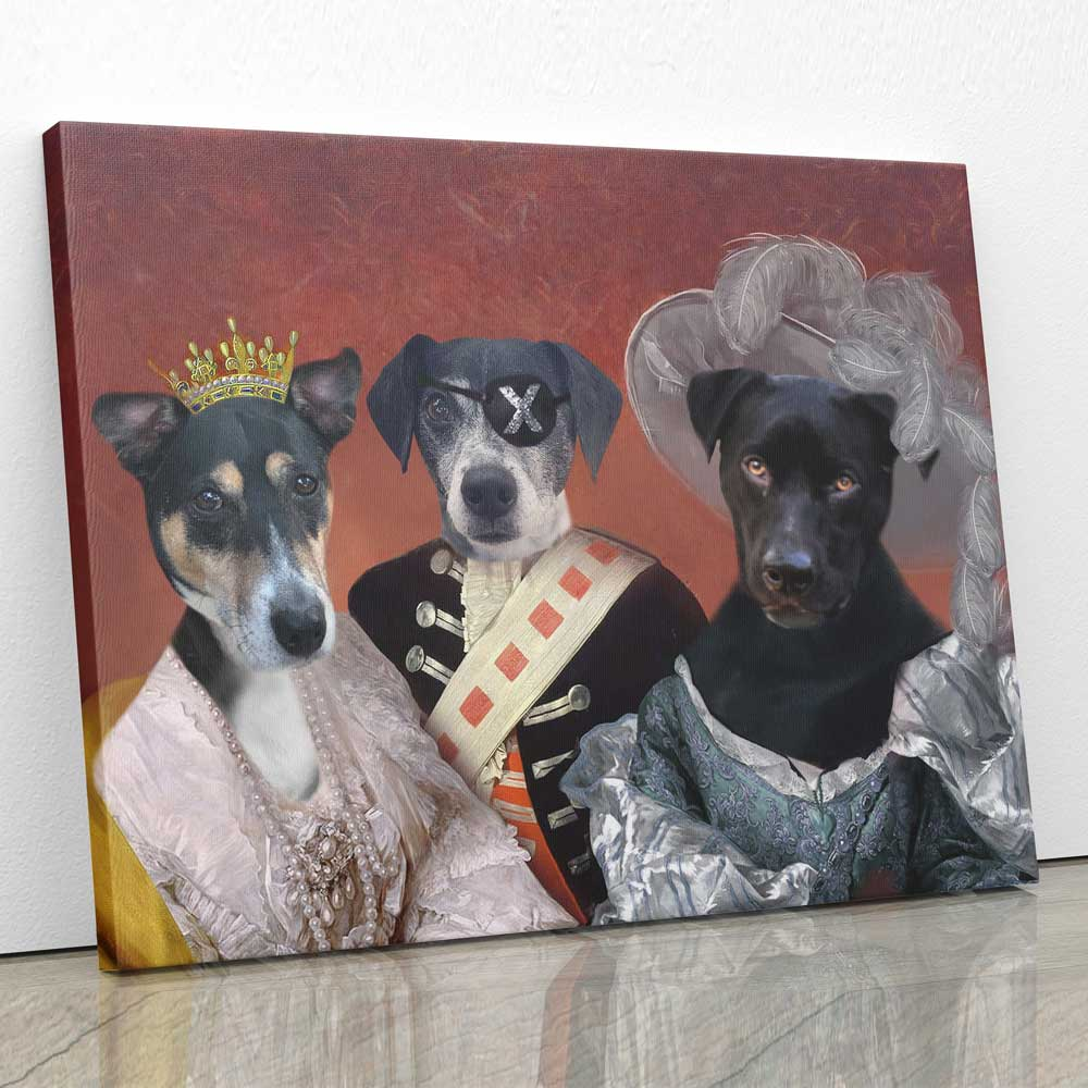 ROYAL FAMILY - Personalized Pet Portrait Poster Wall Art Custom Canvas Gift for Dog Cat Lovers