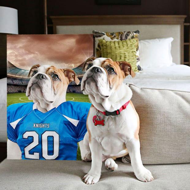 Football Player - Custom Pet Portrait Canvas - KutePaw