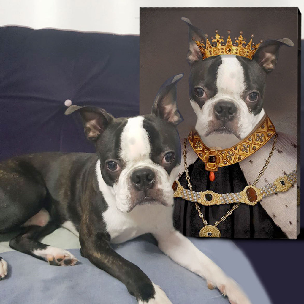 Custom Pet Portrait - The Crown King - Personalized Canvas - KutePaw