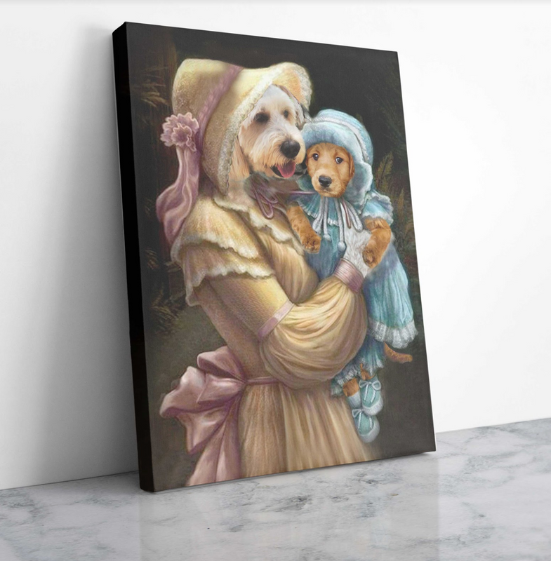 Custom Pet Portrait - Mommy and Daughter - Personalized Canvas - KutePaw