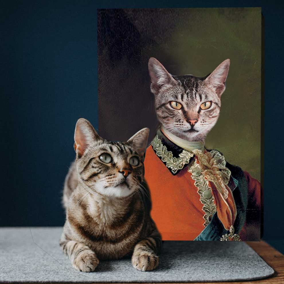 Aide-de-Camp To The Empress - Personalized Pet Portrait Poster Wall Art Custom Canvas Gift for Dog Cat Lovers