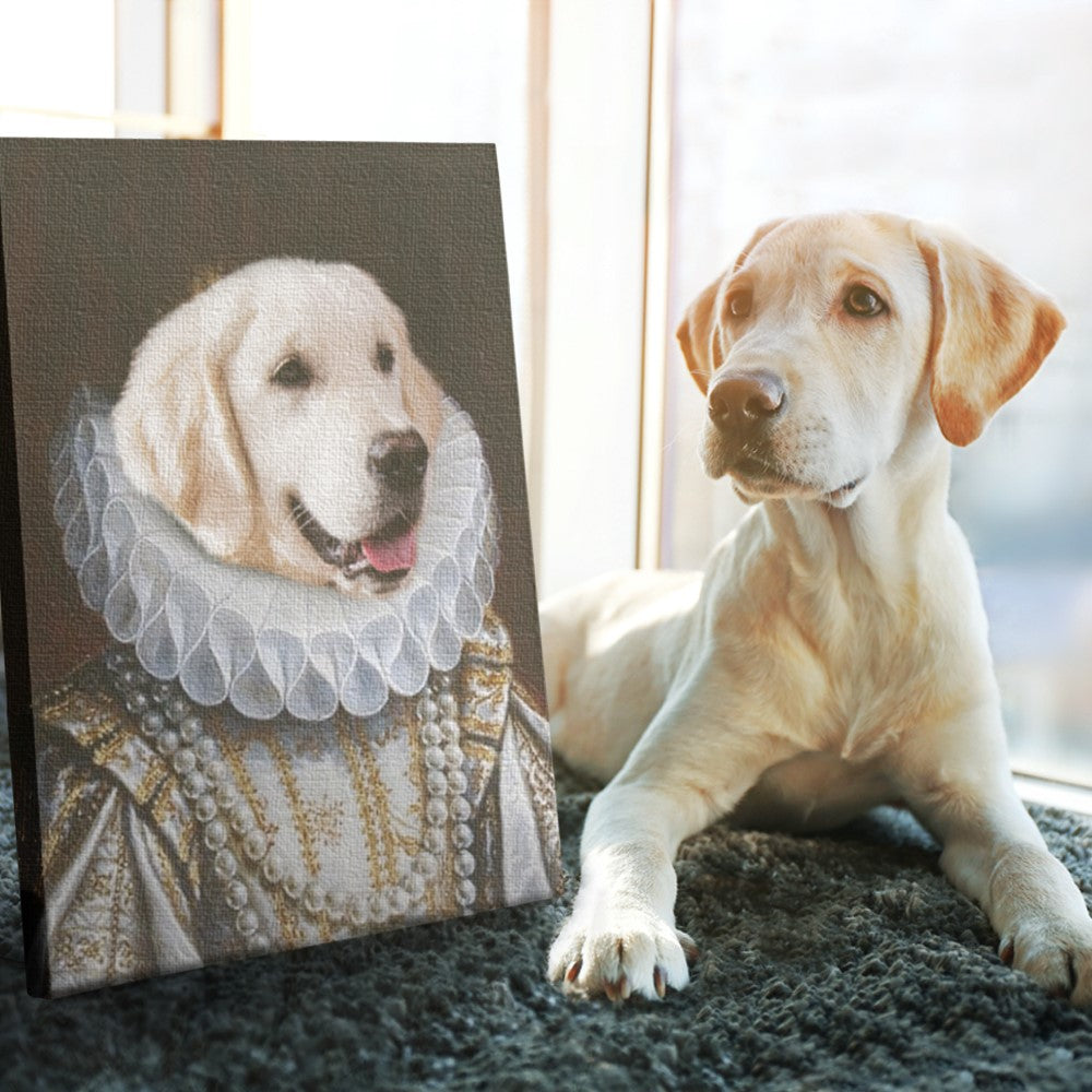 Custom Pet Portrait - ROYAL PRINCESS VICTORIAN ERA - Personalized Canvas - KutePaw