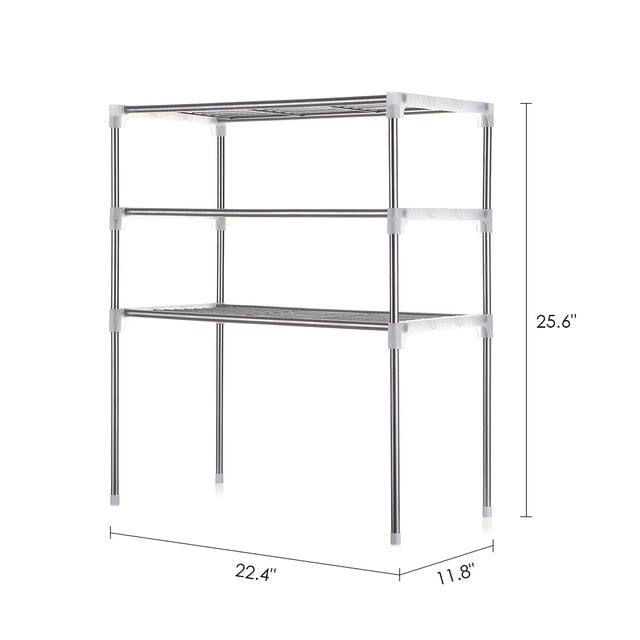 2-Tier/3-Tier Microwave Shelf Rack Kitchen Shelf Spice Organizer Kitchen Storage Rack Bathroom Organizer Shelf Book Shoes Shelve