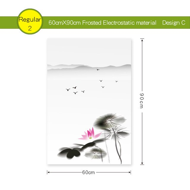 Static Glass Window Film Frosted Opaque Privacy Glass Sticker Home Decor Digital Print Chinese Landscape Style In Water And Aryl