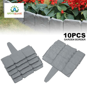 Garden Fence Edging Cobbled  Grey  Stone - Ameya Home