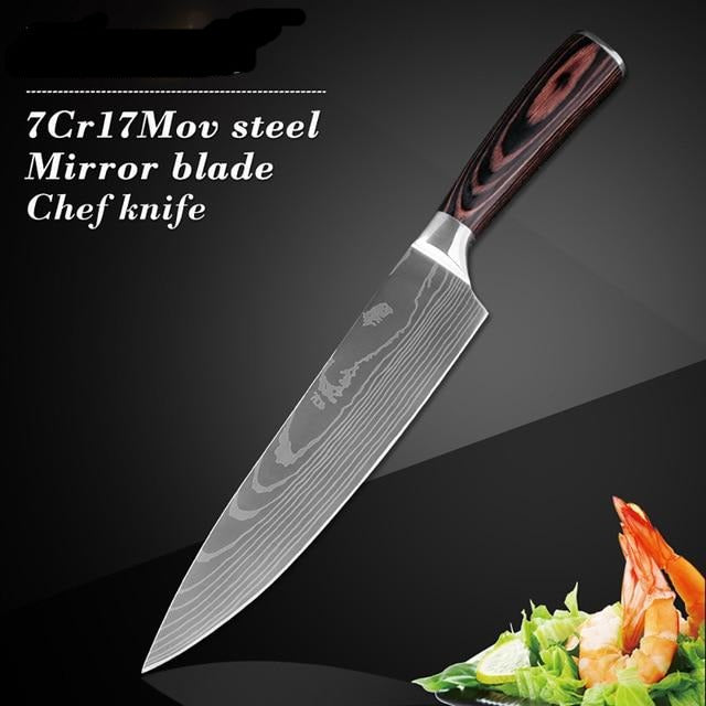 XITUO Stainless Steel Kitchen Knives Set 7CR17 Japanese Style Chef Knife Utility Bread Meat Cleaver fruit Knife Kitchen Tool New