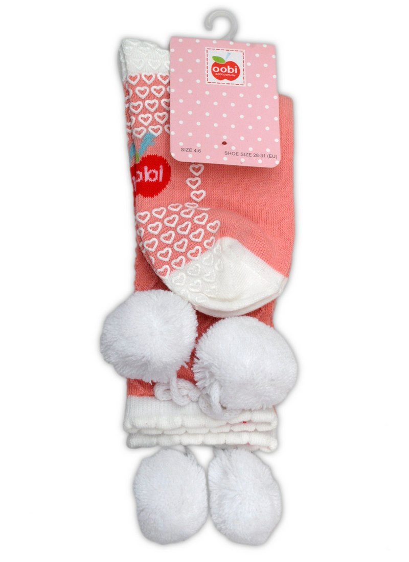 KNEE HIGH PINK WITH SNOW POM POM SOCKS