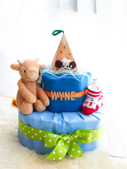 2 Tier Diaper Cake Boy - Cow